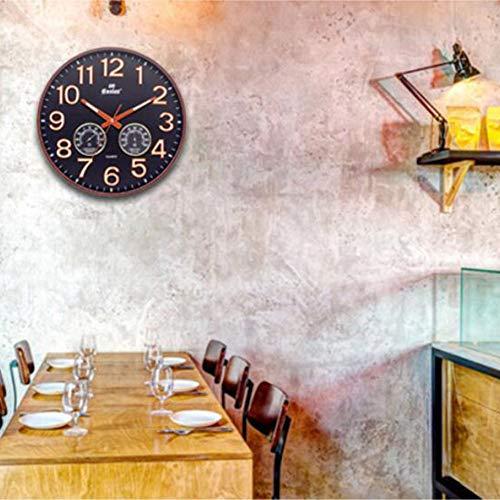 LOISK Reloj de Pared con termómetro e higrómetro, Mide Temperatura y Humedad, 30 cm diámetro, Plastico Marco Funciona con Pilas,Negro