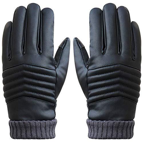 Gants Tactiles Hommes pour Texting Driving, Gants en cuir chauds d'hiver, Doublure en molleton, Gants vélo Noir (Noir)
