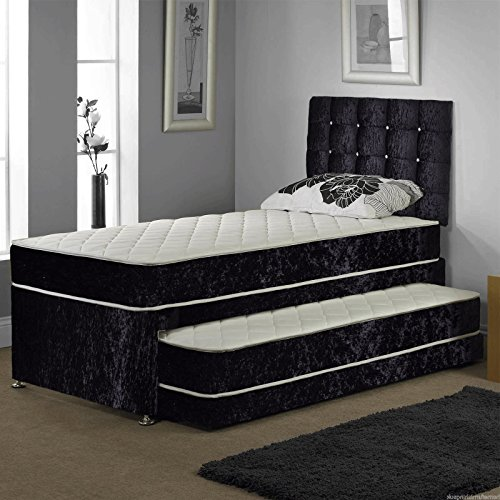 Sleep Factory Ltd SINGLE TRUNDLE GUEST BED 3 IN 1 WITH UNDER BED PULL OUT BED WITH 2 MATTRESSES AND HEADBOARD (Black)