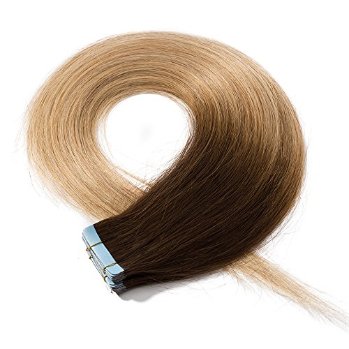 Elailite Extension Adesive Capelli Veri Biadesivo Shatush 20 Fasce Biadesive 50g/Set 100% Remy Human Hair Biondi Tape Extensions, 45cm #4 Cioccolato ombre #27 Biondo Scuro
