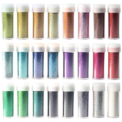 Glitter: Extra Fine, Set Of 24 Vivid Glitters, Shakers, Powder, Great For Arts and Crafts, Makeup, Nails, Body Art, Paint, Kit, Dust, Non Toxic- No Mess, Easy Pour Lids- Crafting, Decorating, Printing