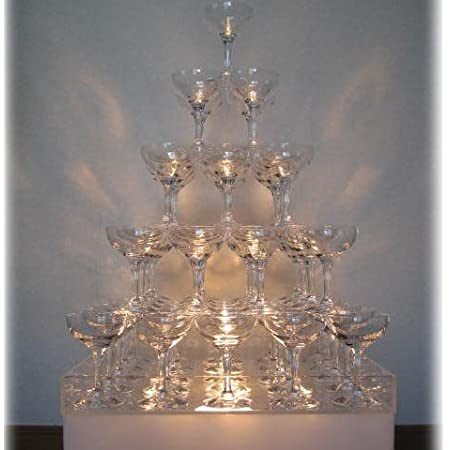 シャンパンタワー5段セット グラス55個+予備5個 トレー付