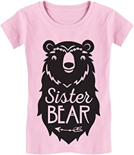 Big Sister Bear Cute Gift Sibling Girl Family Infant Girls' Fitted T-Shirt
