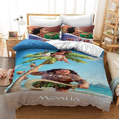 Probuk Moana - Juego de ropa de cama suave, juego de 3 piezas, 2 fundas de almohada, decoración para dormitorio juvenil, regalo (03,155 x 200 cm (50 x 75 cm)