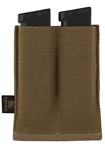 KRYDEX Molle Double Magazine Pouch Speed Pistol Mag Pouch Bag for 9mm 45 .40 Magazine (CB)