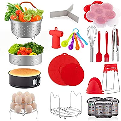22 Pcs Accessories for Instant Pot 6 8 Qt, YIHONG Pressure Cooker Accessories Set,2 Steamer Baskets,7 Inch Springform Pan,Stackable Egg Rack,Silicone Egg Bites Mold,Free Ebook Recipe