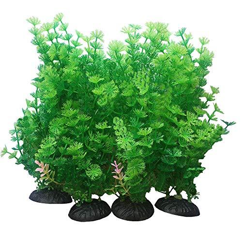 Smoothedo-Pets Plantes artificielles pour aquarium - Taille moyenne - Hauteur : 23,9 cm - En plastique - Pour poissons rouges, paysage aquatique, cachettes et fines - Ensemble vert