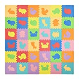 HOMCOM Alfombra Puzzle para Bebés 36 Piezas 31,5x31,5 cm Juego Rompecabezas Infantil Modelo de Animales Suelo de Espuma EVA Área de Cobertura 3,24 m² Multicolor