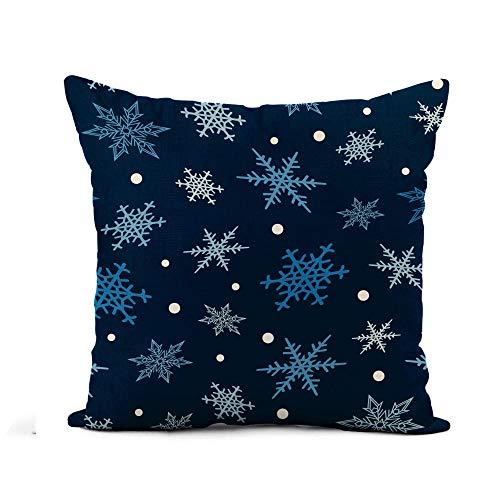 N\A Fodera per Cuscino di tiro Fiocchi di Neve Frozen Frost Star Natale Neve Fiocchi Invernali Elemets Federa Decorazioni per la casa Fodera per Cuscino in Cotone Quadrato Fodera per Cuscino
