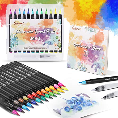 Glymnis Pinselstifte Set Brush Pen Set 24 Aquarellstifte + 2 Wassertankpinsel Handlettering Stifte mit flexiblen Nylonspitzen und 10 Papier für Kalligraphie Kindermalen Bullet Journal