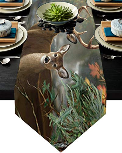 Cotton Linen Burlap Table Runner Elk Nature Forest Landscape Home Decorative Table Cloth Cover for Kitchen Dining Banquet Party/Parties Tabletop Picnic Dinner Wild Animal Reindeer 14x72in