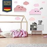 Juego de adhesivos de pared Clouds autoadhesivo adecuado para estantería de pared IKEA RIBBA/MOSSLANDA Bordürgen - adhesivos de pared con trozos de madera, habitación de bebé (rosa pastel)