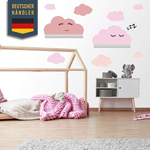 Wolken Wandaufkleber Set selbstklebend passend für IKEA RIBBA/MOSSLANDA Wandregal Bordürgen - Rauhfaser Wandsticker, Tapeten Sticker zum Kleben, Wanddeko für Kleinkinder, Babyzimmer Pink Pastel