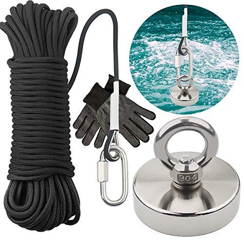 TooTaci Runde Neodym-Augenschrauben-Magnet mit 66ft schwarzem Seil Super Power N52 Zugkraft 330 LB(150 kg) Durchmesser x 60 mm dick x 15 mm für Magnetfischen und Rettung im Fluss …