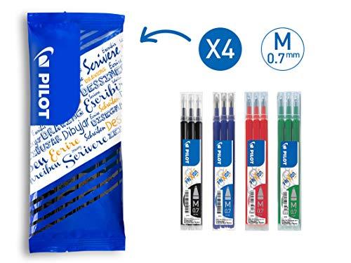 Pilot Frixion - Confezione da 12 ricariche per penna a sfera 0,7 mm, colori: blu, nero, rosso, verde