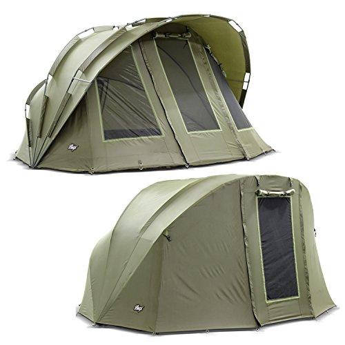 Lucx® Bobcat Bivvy + Winterskin 1 bis 2 Mann Angelzelt + Overwrap 2 Personen Karpfenzelt + Überwurf Angler Zelt + Skin Campingzelt