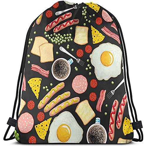 wallxxj Drawstring Backpack Spiegeleier Kaffee Speck Toast Würstchen. Tanztasche Kordelzugtasche Print Gym Rucksack Wandern Strand Reisetaschen Student Casual
