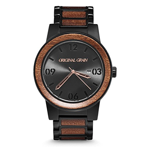 Original Grain Sapele Black Wood Watch - Barrel Collection Analog Wrist Watch - Japanese Quartz Movement - Wood and Matte Black Stainless Steel - Water Resistant - Sapele Wood Watches for Men - 47MM