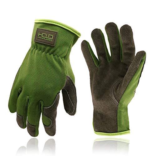 Guanti da lavoro per uomini e donne, guanti da giardinaggio in pelle, guanti di sicurezza, in pelle bovina, destrezza e design traspirante (S, verde)