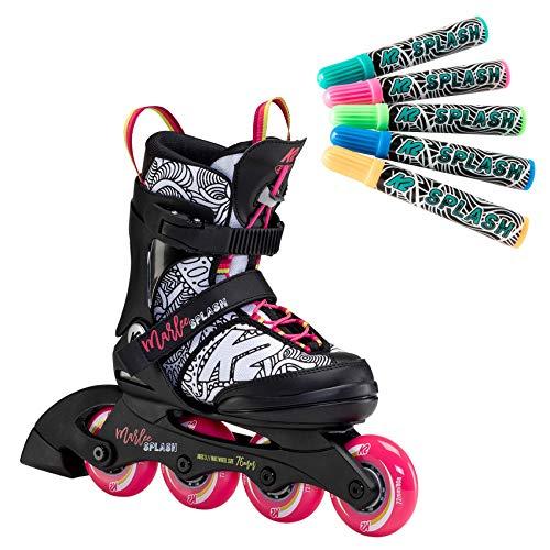 K2 Inline Skates MARLEE SPLASH Für Mädchen Mit K2 Softboot, Black - Pink - Splash, 30F0117