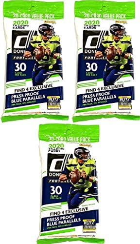 3 PACKS 2020 Panini Donruss NFL Football CELLO pack 30 cards pk product image