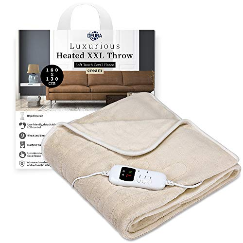 Deuba Heated Throw Blanket Electric 180x130cm Queen Size Sofa & Bed | Soft & Cozy Fleece with Remote Timer Auto Off Washable Overheat Protection | Over Blankets Double Single Beige
