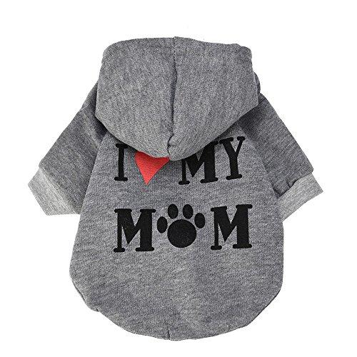 BBring I Love My Mom Brief Muster Hundepullover für Katzen Hunde, Kapuzen Hundemantel Warm Winterpullover Haustier Kleidung Hundekleidung für Kleine Hunde Hündchen Kätzchen (M, Grau)
