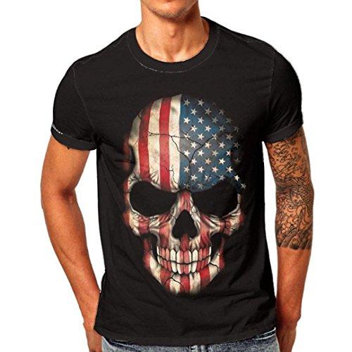 ASHOP Herren Casual Skull 3D Printing Logo Tee Fitness Crew Neck Kurzarm T-Shirt Schwarz (L, Schwarz)