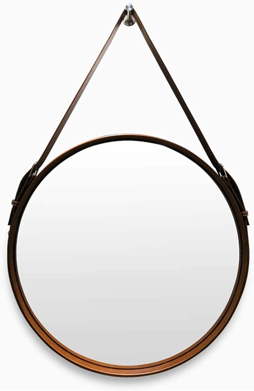 Decorative Mirrors Leather Round Wall Mirror Diameter 20-28 Inch Vanity Makeup Mirror with Hanging Strap Silver Hardware Hook(Dark Brown)
