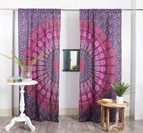 Popular Handicrafts Indian Hippie Bohemian Beautiful Peacock Mandala Window Curtain Panels Purple