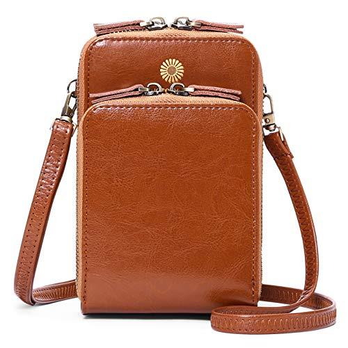 SENDEFN Damen Schultertasche - Handy Umhängetasche Leder Klein Tasche Geldbörse reisepass Handytasche Schultergurt mit Verstellbarer Länge Tasche Brieftasche mit Credit Card Slots für