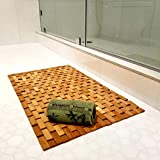 Elegant Bamboo Bath Mat & Bamboo Hand Towel Set Non-Slip and Water Resistant Mat Eco-Friendly for Bathroom & Kitchen Large 27' x 16' Mat