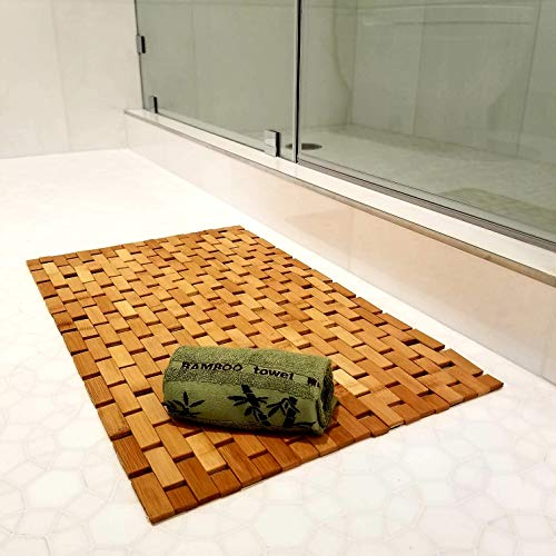 """Elegant Bamboo Bath Mat & Bamboo Hand Towel Set Non-Slip and Water Resistant Easy to Clean Eco-Friendly for Bathroom & Kitchen Large 16"""" x 27"""" Mat"""