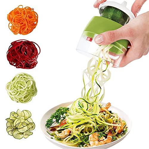 Sanfant Spiralschneider 4 in 1 Gemüseschneider, Hand Spiralschneider Gemüse, Gemüsehobel für Gemüsespaghetti, Karotte, Gurke,Kürbis, Zucchini, Kartoffel