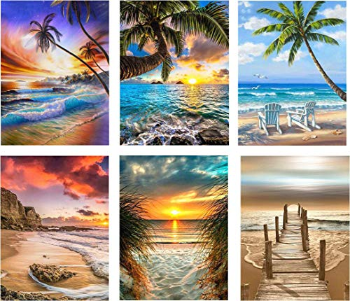 SIIYIX 6 Sets 5d Full Drill Diamond Painting Art Dotz Diamond Paint by Numbers Beach Kits for Adult Kids Housewarming Gifts Beach Boat Sea Sunset Sunrise, 12×16 INCH (A Pack of 6 Sets)