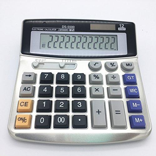 Electrónico Calculadora De Sobremesa Con Pantalla grande de 12dígitos batería solar o de alimentación ininterrumpida oficina calculadora 🔥