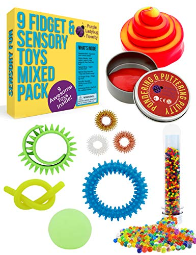 Purple Ladybug Sensory Toys Set for Kids - 9 Fully Tested Fidget Toys for Stress & Anxiety Relief BPA & Phthalate Free Fidgets: Putty Water Beads Squishy Stress Ball & More! Fun Gift for Children!