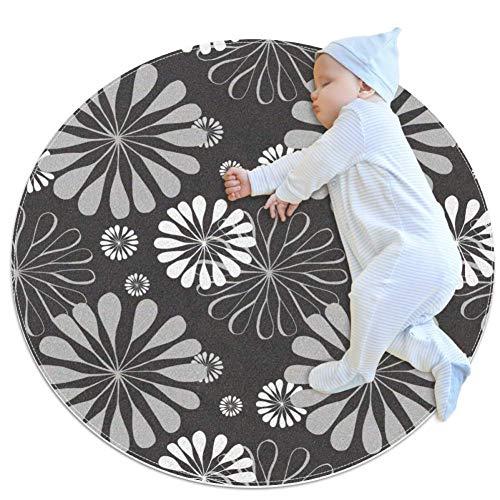 SDASDW grauer Blumenmuster, runder Kinderteppich, Spielteppich für Kleinkinder, Jungen, Mädchen, weicher Teppich, 70 x 70 cm