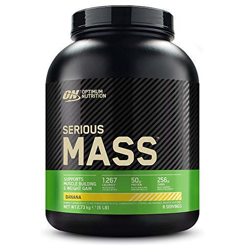 Optimum Nutrition ON Serious Mass Hochkalorisches Weight Gainer Protein Pulver mit Kohlenhydrate, Whey Protein, Vitaminen, Kreatin und Glutamin, Banana, 8 Portionen, 2,73kg