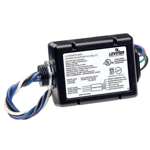 Leviton OSP20-RD0 Fluorescent/Incandescent Power Pack for Occupancy Sensor with HVAC Relay, 20 Amp FL/INC, 120-277V, Black