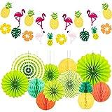 NACTECH 15pcs Decoración Fiesta Hawaiana Decoración Fiesta Tropical Playa Abanicos de Papel Bola Ventilador de Papel para Colgar de Papel Tisú Flamingo para Banquete Verano Jardín