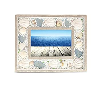 CoTa Global Nautical Oceanic Sea Shell Intricate Art 4x6 Wooden Picture Frame Holder Handcrafted Back Easel Tabletop Accent - Ocean & Sea Life Home Decor Accessories