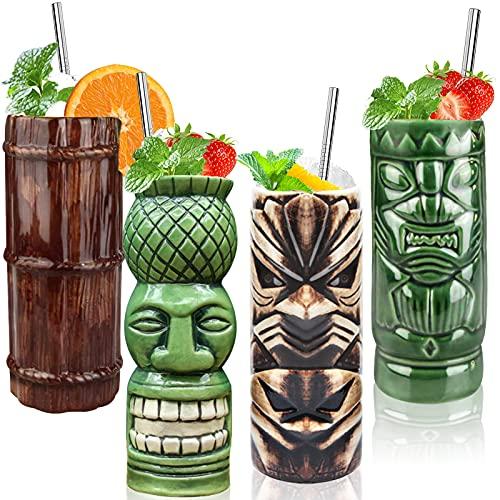 Tiki Mugs Cocktail Set of 4 - Large Tumblers Ceramic Hawaiian Luau Party Mugs Drinkware, Cute Exotic Cocktail Glasses
