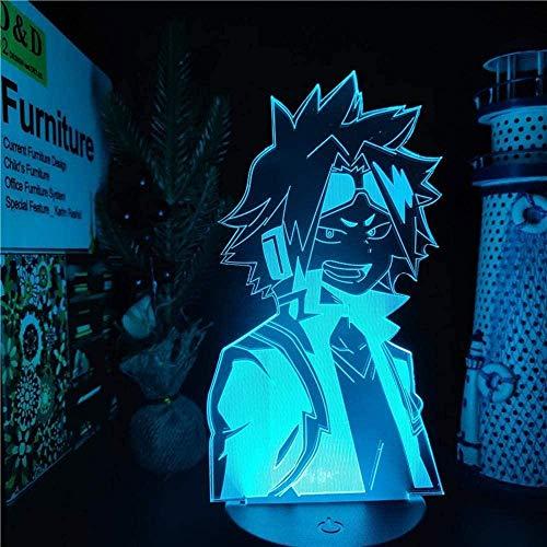 GEZHF My Hero Academia 3D Anime Visual Night Lights para niños Denki Kaminari LED Lamparas Boku No Hero Academia Lampara De Noche Dormitorio 7 colores Touch Illusion Lámpara de mesa
