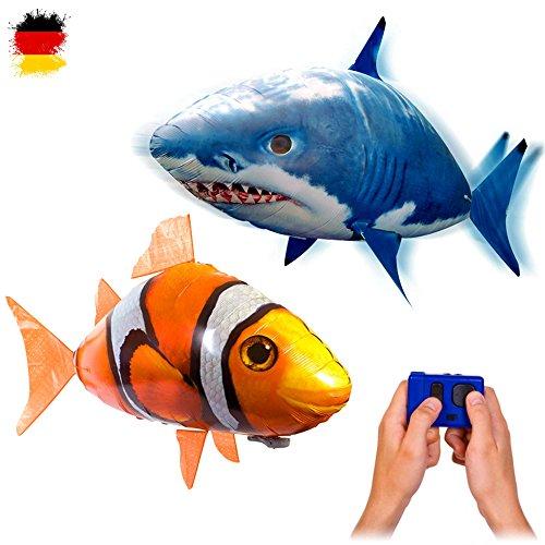 MEGA-SET bestehend aus 2 x riesengroße Fische RC R/C ferngesteuerter fliegender Fische - Clownfisch + Sharky Hai - Ferngesteuerte Riesenfische, Mit Helium gefüllt schwebt er in der Luft, Neu