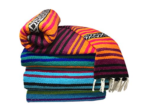 Spirit Quest Supplies Bodhi Blanket Mexican Style Throw Blanket - Falsa Blanket for Yoga, Picnics, Beach, Tapestry, Camping, & More (Sunset: Orange, Purple, Magenta Pink, Black, Gray)