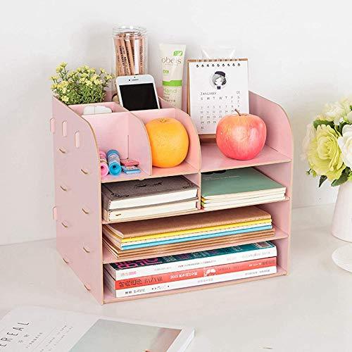QWEWQE Schreibtisch Organizer Aufbewahrungsregal aus Holz, Multifunktion Schreibtischablage mit 11 Fächer Ablagesystem, Groß Desktop Lagerregal für A4 Papiere, Bücher (Rosa)