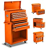 8-Drawer Tool Chest Tool Box,High Capacity Rolling Tool Chest Tool Storage Cabinet with 4 Wheels, 2 in 1 Large Toolbox Tool Organizer with Lockable Drawer for Garage Warehouse Workshop (2021orange)