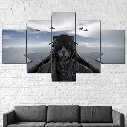 Cuadros Impresos En Lienzo Que Brillan En La Oscuridad 100X55Cm 5 Piezascabina Piloto De Avión F-15 Eagle Premium Lienzo De Tejido No Tejido Xxl
