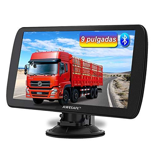 AWESAFE 9 Pulgadas Navegador GPS para Camiones y Coches, con Bluetooth y Actualizaciones de Mapas de Europa para Toda la Vida